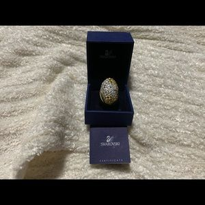 Swarovski gold plated ring with stones NEVER WORN
